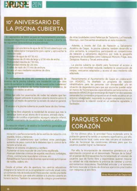 Piscina Cubierta, Parques y Jardines