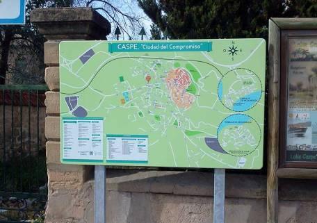 Plano Urbano de Caspe con los lugares de interés